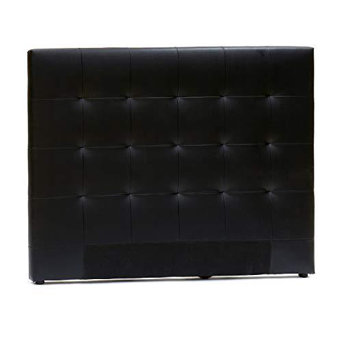 TU TENDENCIA ÚNICA Cabecero Cama de Madera 160 cm. Tapizado Acolchado en Polipiel. Moderno y Elegante para tu Dormitorio (Negro)
