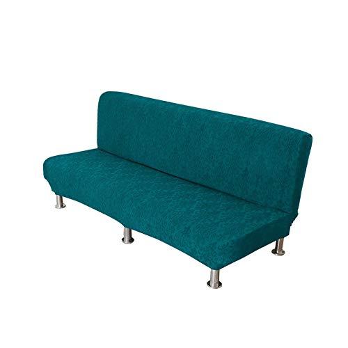 HUNOL Cubierta de Sofá Cama Sin Reposabrazos Elástica, Jacquard Funda de Sofá Sin Brazo Lavable Protector para Futón Couch con Fondo Elástico Protector de Muebles para Mascotas-Azul Verde