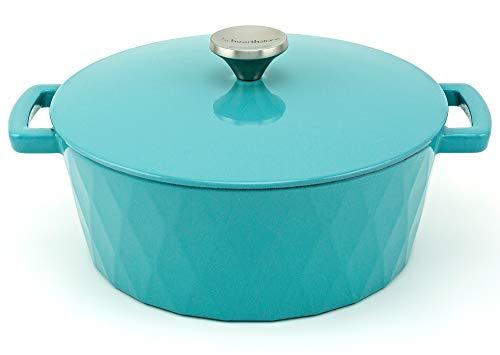 HearthStone Cookware - Cocotte Diamond de Hierro Fundido Esmaltado, Turquesa, 26 cm, 5.2 l. Para Todas las Superficies, incluyendo Inducción y Horno.