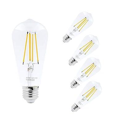 LED Edison Light Bulbs 60 Watt Decorative Vintage Style Incandescent Lightbulb Equivalent E26 Base ST58, Pack of 4 by Mandala Crafts, Non-Dimmable 4000K Daylight White