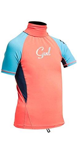 GUL Kids Youth Junior Surf Rashguard Coral Turquoise de Manga Corta - Protección Solar UV y propiedades SPF