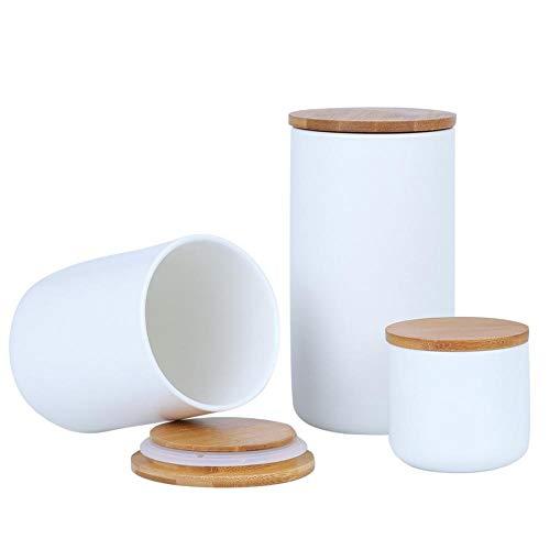 XUDREZ Keramik-Vorratsdose für Lebensmittel, schwarz-weiß, mit luftdichtem Verschluss, Bambus-Deckel, Lebensmittelbehälter für Tee, Kaffee, Bohnen, Zucker, Mehl (weiß: 3 Stück)