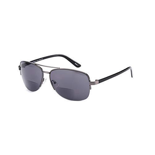 Bifokal Lesebrille Sonnenbrille Lesegeräte +200 Grad Grau Getönt Sun Reader Brille Metallrahmen Aviator Style UV Blocker Modern