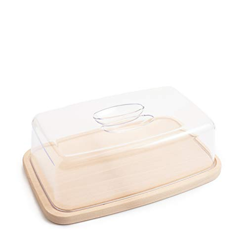 Ribnican Grande Formaggiera Tagliere Cucina Legno Antibatterico Piatto Contenitore Porta Formaggio Conservare Pane Affettato Dolci Plastica Rettangolare