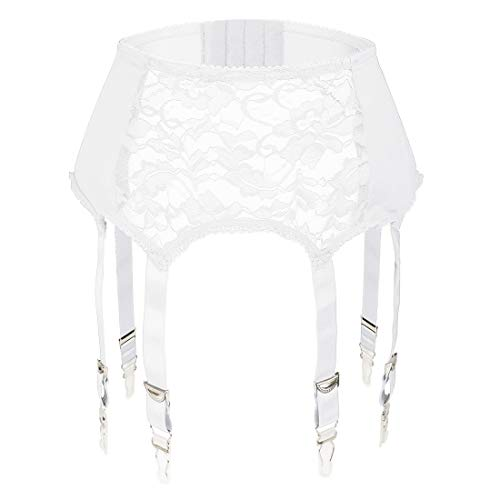 Slocyclub Women Garter Belt with 6 Straps Metal Clip Suspender for Stockings/Lingerie(White) Large