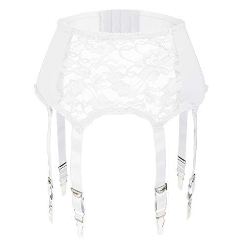 Slocyclub Damen Spitze Strumpfband Gürtel mit 6 Riemen Metall Clip Strapse für Strümpfe / Dessous -  Weiß -  Groß