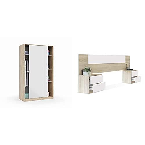 Habitdesign Armario 2 Puertas Correderas y Estantes, para Dormitorio o Habitacion, Modelo MAX + Cabezal + Dos Mesitas de Noche, Cabecero y Mesitas, Modelo Alaya
