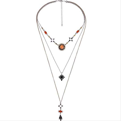LBBYMX Co.,ltd Collar de Moda Americana Collar con Colgante de Gota de Diamantes de múltiples Capas Collar de Mujer Americana Cadena de suéter Salvaje-Moda Naranja