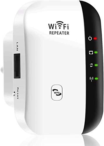 MISSJJ Repetidor WiFi, 300Mbps Extensor WiFi, Amplificador WiFi 2.4GHz con Repertidor/Ap Modo y la función WPS,Repetidor Señal WiFi con Puerto Ethernet, Interfaz de alimentación, Puerto LAN, ADSL