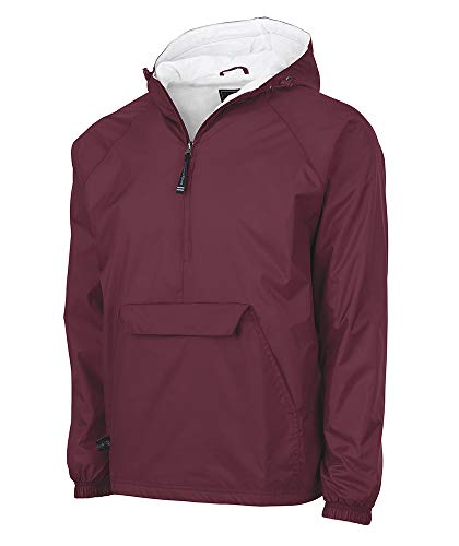 Charles River Apparel unisex adult & Water-resistant Pullover Rain (Reg/Ext Sizes) Windbreaker Jacket, Maroon, X-Large US