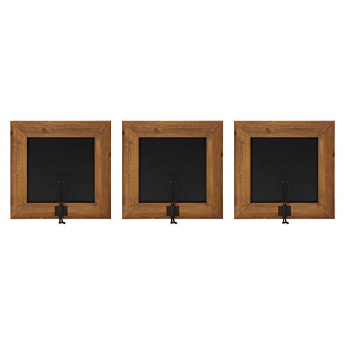 Kate and Laurel Jeran Wall Mounted Small Wood Chalkboards with Hook, 11.75 x 11.75, Rustic Brown, 3 Piece Set
