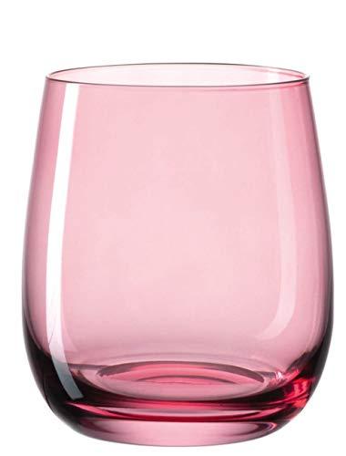 Leonardo Sora Wasser-Gläser, 6er Set, spülmaschinengeeignete Saft-Gläser, bunte Trink-Becher aus Glas, modernes Getränke-Set, rot 360 ml, 018190