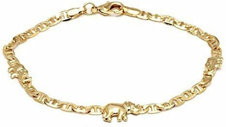 Flat Marina Anklet Bracelets for Women - 14K Gold Plated Elephant Anklet Marina Cute Chain Handmade Unique Trendy Simple Minimalist Jewelry Gift for Teen Girl