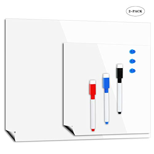 Magnetisches Trockenlösch-Whiteboard 1 Groß 1 Klein - Für Küchenkühlschrank Mahlzeitplanung, Büro- und Kinder-Graffiti-Trockenwisch-Magnetbretter, 3 Markierungsstifte 3 Blauer Magnetblock