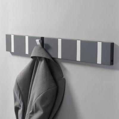 LOCA Knax Garderobe Waagerecht Anthrazit 6 Haken, Grau