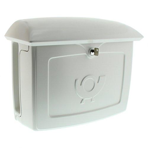 BURG-WÄCHTER, Briefkasten mit integriertem Zeitungsfach, A4 Einwurf-Format, EU Norm EN 13724, Hochwertiger Kunststoff, Malmö 889 W, Weiß
