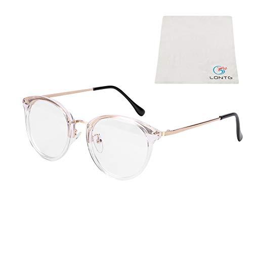 LONTG Retro Brille Student Lehrer Damen Herren Slim-Brille ohne stärke Nerdbrille Linsen Brillenfassung clear lens Dekobrillen fashion Streberbrille Transparente Lesebrille für Computer PC