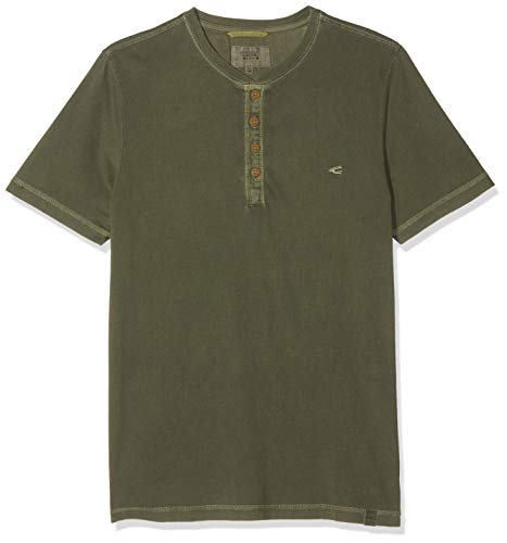 Camel Active Basic Henley 1/2, Camiseta para Hombre, Verde (Olive 75), Small