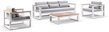Balmoral 3+1+1 Seater Outdoor Aluminium and Teak Lounge Setting-White Aluminium W/Olefin Grey, White Aluminium w/Olefin Grey
