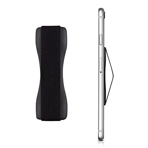 kwmobile Smartphone Fingerhalter Griff Halter - Selbstklebende Handy Fingerhalterung - Finger Halter kompatibel mit iPhone Samsung Sony Handys Schwarz