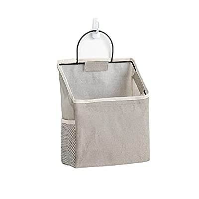 Wall Organizer Hanging Bag ,Closet Hanging Organizer for Pocket,Linen Cotton Organizer Box Containers for Bedroom,Bathroom Dormitory Storage(Gray)