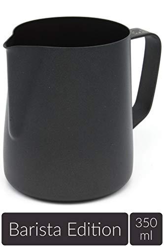 Lambda Coffee Milchkännchen Edelstahl für Barista Zubehör Milk jug Pitcher klein schwarz Teflon beschichtet | Milchkanne Milch aufschäumen Latte Art 350ml | für Espresso Siebträger Barista Set