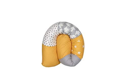 Cojín protector para cuna de ULLENBOOM ®, cojín chichonera en forma de serpiente elefantes amarillo (ideal para proteger al bebé de los barrotes de la cuna o como cojín de apoyo)