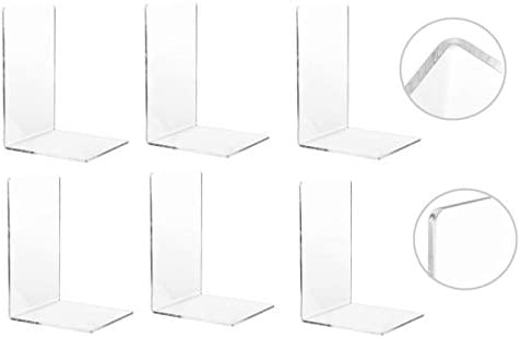 CY craft 6 Pieces 3 Pairs Bookends Clear Acrylic Bookends for Shelves Heavy Duty Book Ends and product image