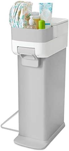 Skip Hop Diaper Pail with Dual Air Lock Premium Slim Design Fits Standard Trash Bags White product image