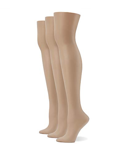 No Nonsense Women's No Seam Very Sheer Tights, Nude-3 Pair Pack, X-Large