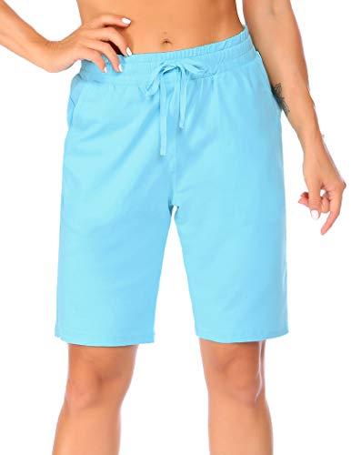 Misakia Womens Workout Drawstring Lounge Shorts Women Summer Plus Size Cotton with Pockets Light Blue L