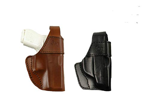 J&J Custom Formed to FIT Kimber Micro 9 W/Crimson Trace Laser Grips !!!Will NOT FIT Micro 9 W/CT Laser Guard!!! OWB W/Belt Clip Formed Leather Holster W/Thumb Break (Brown, Right)