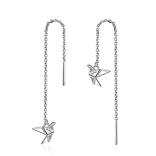 Pendientes Mujer Pendientes Colgantes De Grúa De Papel De Origami De Joyería Fina De Plata De Ley 925 Threader Silver