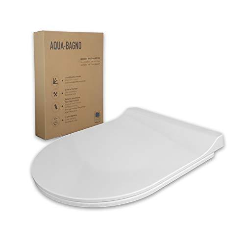 Aqua Bagno | Toilettendeckel und WC Sitz mit Absenkautomatik made in EU, antibakteriell, Klodeckel in D-Form, abnehmbar, WC Brille aus Duroplast, Softclose, Weiß | Roxy (Modell)