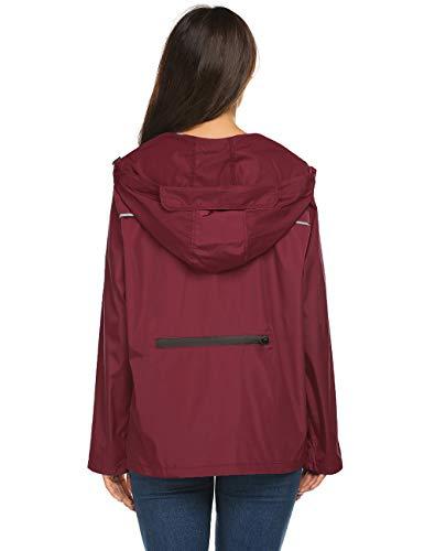 Avoogue Womens Rain Jacket Running,Women'S Raincoats Windbreaker Rain Jacket Waterproof Wine Red,M