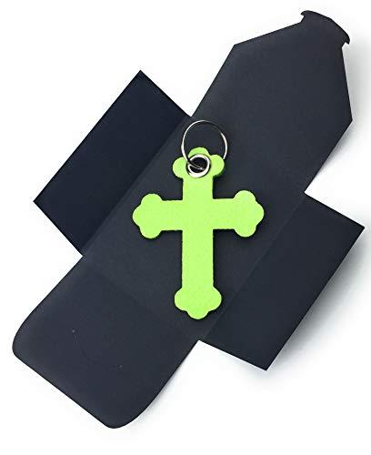 filzschneider Schlüsselanhänger aus Filz - Kreuz Barock - in lind-grün/hell-grün - als besonderes Geschenk mit Öse und Schlüsselring - Made-in-Germany