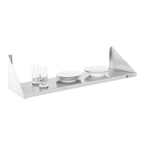 Royal Catering - Wandregal Wandbord (1 Fläche, 90 cm lang, 30 cm tief, Edelstahl + Befestigungsmaterial) Silber