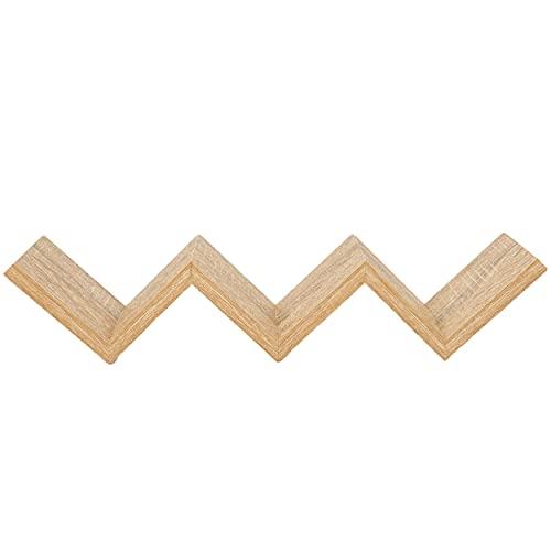 Estantería de Pared en Zigzag 59x12x12 cm Estantes Pared Baldas Pared Ideal para Libros CDs Decoración - Roble Blanco
