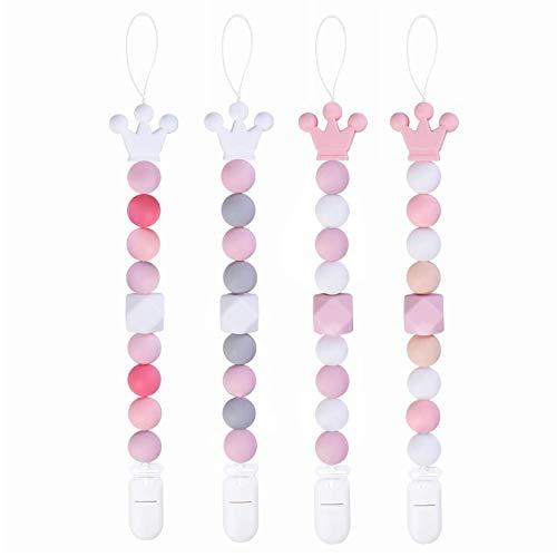 Yoofoss Schnullerkette Mädchen 4er Pack Silikon Schnuller Kette Baby Schnuller Halter Beißring Perlen BPA Frei (Rosa)