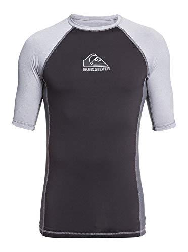 Quiksilver Herren BACKWASH SS Short Sleeve Rashguard SURF Shirt Rash Guard Hemd, Bogen Heather, X-Large