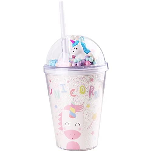 PROTAURI 380 ml Einhorn Plastikbecher mit Deckel und Strohhalm - Doppelwandig Trinkbecher Kaffeebecher Vakuumisoliert Tasse Trinkflasche für Saft Kaffee Bier Smoothie Cocktail/Kinder und Erwachsene