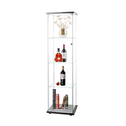 """LFT HUIMEI2Y 4-Shelf Glass Display Cabinet with Door, Curio Cabinets 4mm Tempered Glass Floor Standing Bookshelf for Bedroom, Kitchen, Living Room 64""""x 17""""x 14.5"""" Black"""