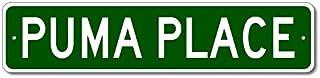 "Puma Place - Custom Puma Family Name Sign - Green - 4""x18"""