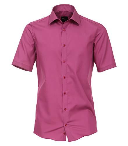 Venti Herren Businesshemd Kurzarm Uni Modern Fit Pinklila 39