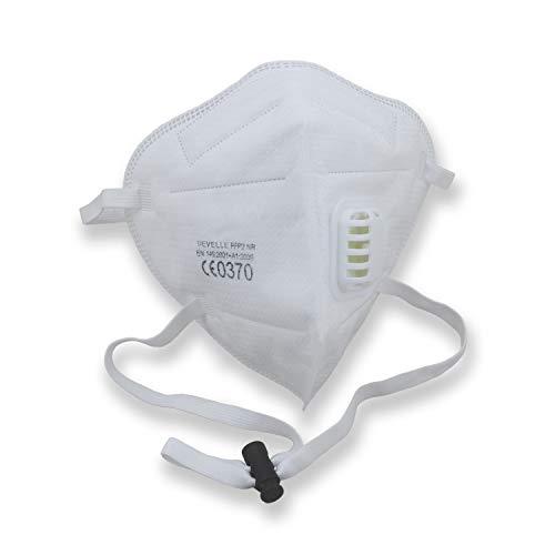 CE-Zertifizierte FFP2 Atemschutzmaske mit Ausatemventil 10 Stück Packung einzelverpackt im hygienischen PE-Beutel Atem Maske Staubschutzmaske für alle Bereiche