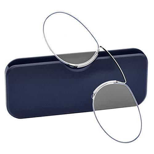 Inlefen Unisex Mini occhiali da lettura Stile Pince Nez Clip naso riposo pizzicare Occhiali da lettura Con custodia