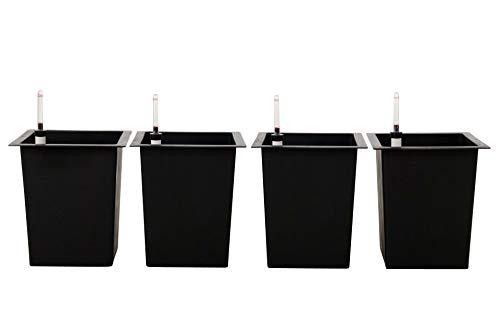 VIVANNO 4er Set Blumenkübeleinsatz 29x29x32 cm mit Bewässerungsset schwarz
