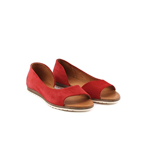 Apple of Eden Damen Veloursleder-Sandale Rot Rauleder 38