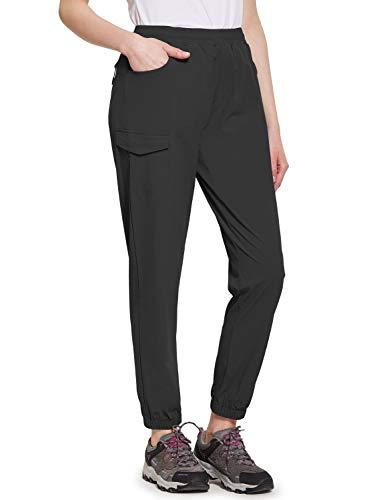 BALEAF Women's UPF 50+ Hiking Pants Athletic Joggers Lightweight Quick Dry Running Pants Black L