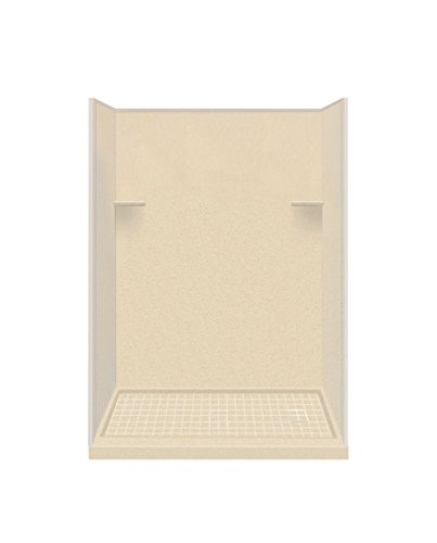 "Transolid RKWF6007R-86 30"" x 60"" x 75"" Solid Surface Right-Hand Alcove Shower Kit in Sea Shore"